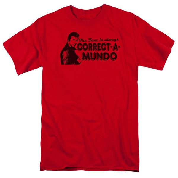 Happy Days/Correct A Mundo Short Sleeve Adult T-Shirt 18/1 in Red