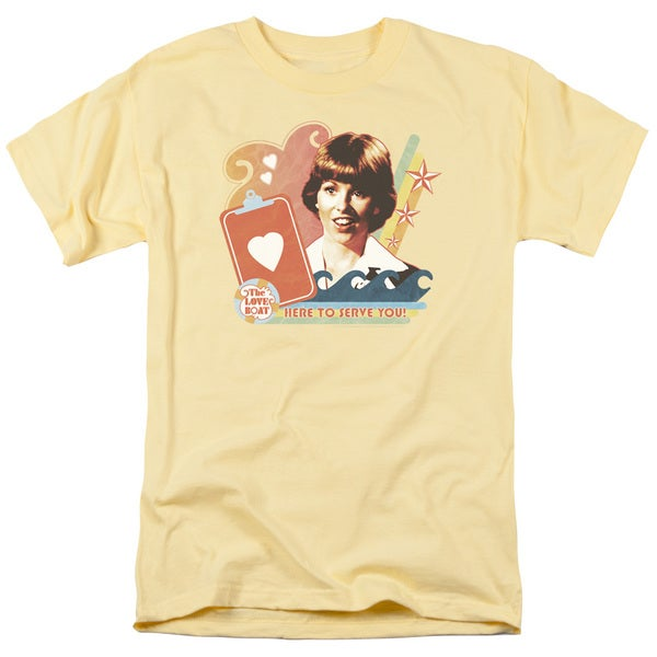 Love Boat/Here To Serve Short Sleeve Adult T-Shirt 18/1 in Banana