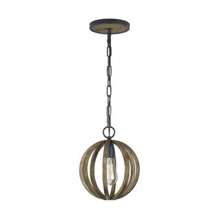 Feiss Allier 1 Light Weathered Oak Wood / Antique Forged Iron Pendant