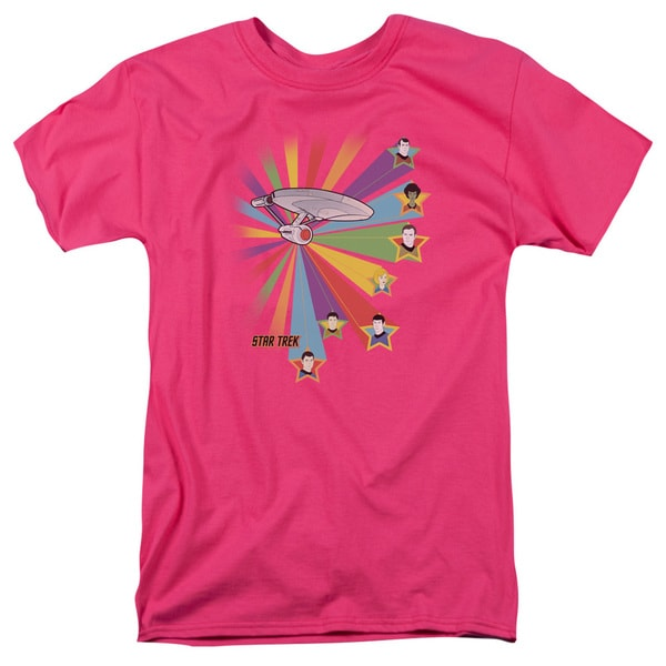 St/Stars Of Trek Short Sleeve Adult T-Shirt 18/1 in Hot Pink