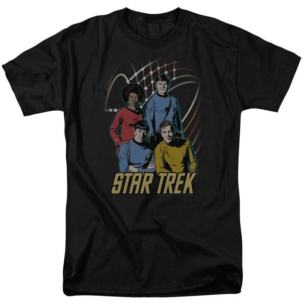 Star Trek/Warp Factor 4 Short Sleeve Adult T-Shirt 18/1 in Black
