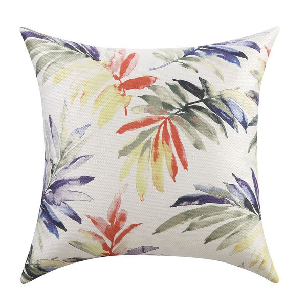 Green/Purple Watercolor Leaves Throw Pillow