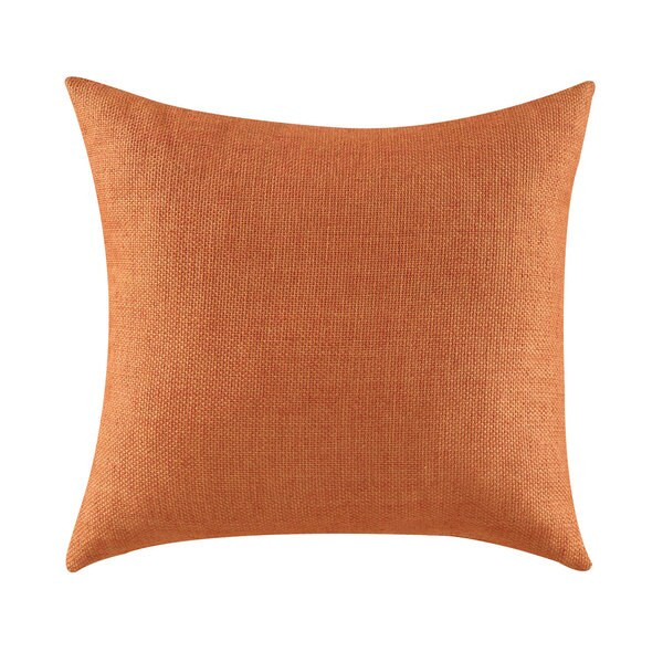 Orange Polyester Textured Throw Pillow