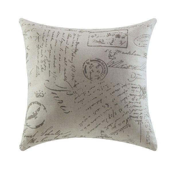 White Fabric Script Throw Pillow