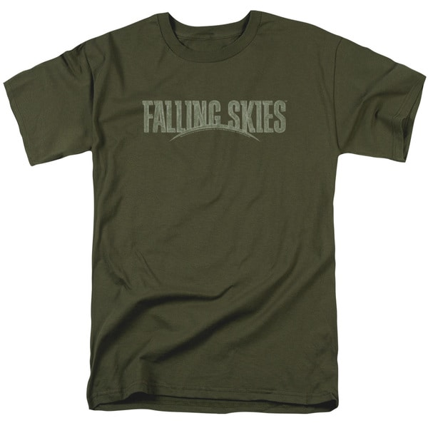 Falling Skies/Distressed Logo Short Sleeve Adult T-Shirt 18/1 in Military Green