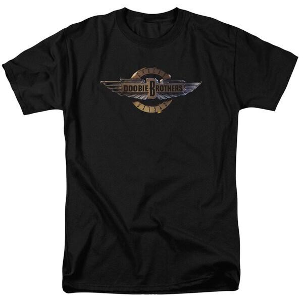 Doobie Brothers/Biker Logo Short Sleeve Adult T-Shirt 18/1 in Black