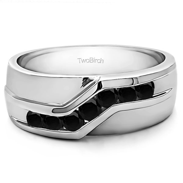 14k White Gold Twisted Channel Set Mens Wedding Ring With Black Diamonds (0.48 Cts.)