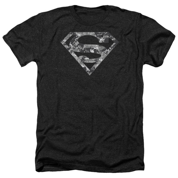 Superman/Urban Camo Shield Adult Heather T-Shirt in Black 20446389
