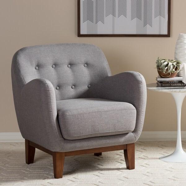Baxton Studio Euterpe Mid-Century Fabric Tufted Armchair