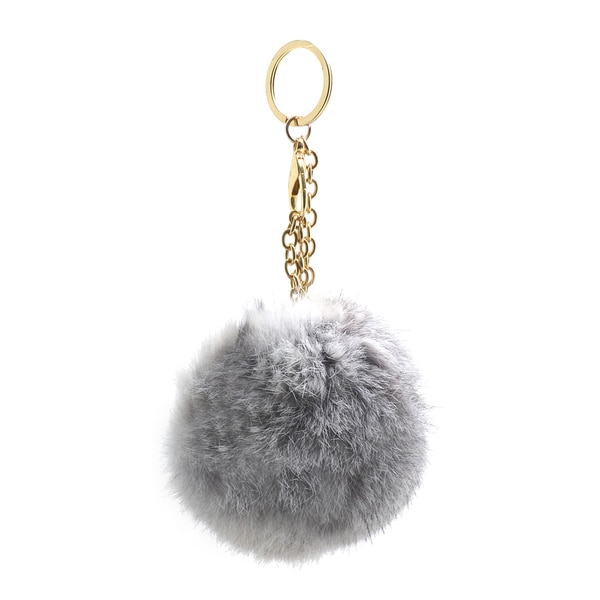 Dasein Fluffy Faux Fur Pom Pom Key Chain Handbag Purse Charm Accessory
