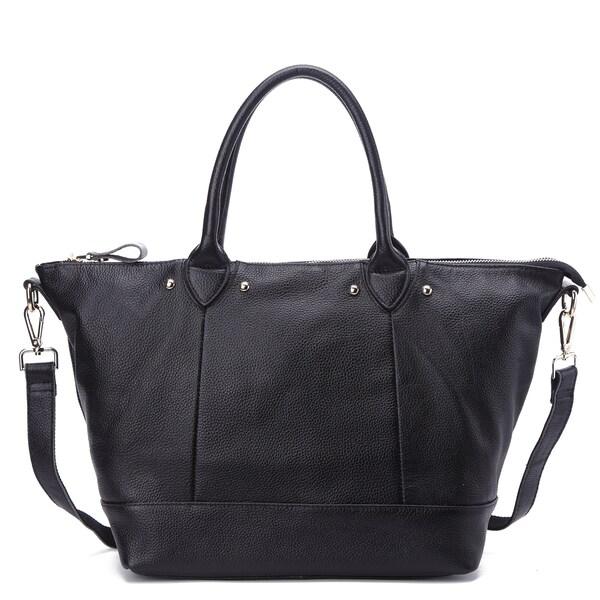 Pink Haley Mae Black/Brown/Grey Leather Tote Bag