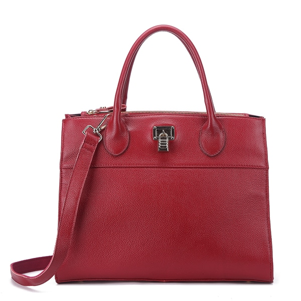 Pink Haley Calla Leather Large Structured Tote Bag