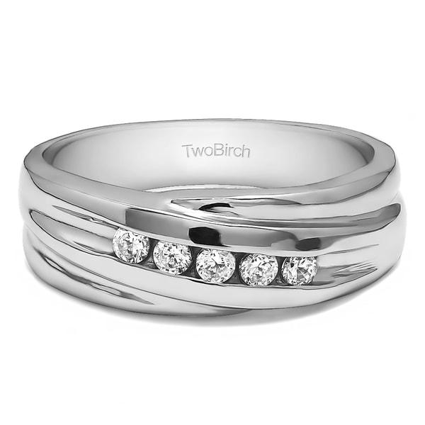 TwoBirch 10k White Gold Twist Style Men's Wedding Ring or Fashion Ring With Diamonds (0