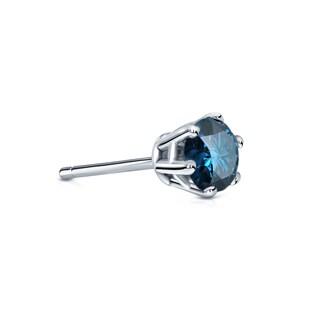 Auriya 14k Gold 1/4ct TDW 6-Prong Push-Back Round-Cut Blue Diamond Single Stud Earring (Blue, SI2-SI3)