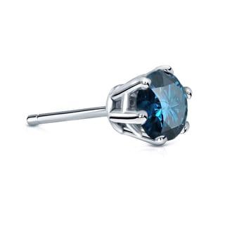 Auriya 14k Gold 1ct TDW 6-Prong Push-Back Round-Cut Blue Diamond Single Stud Earring (Blue, SI2-SI3)