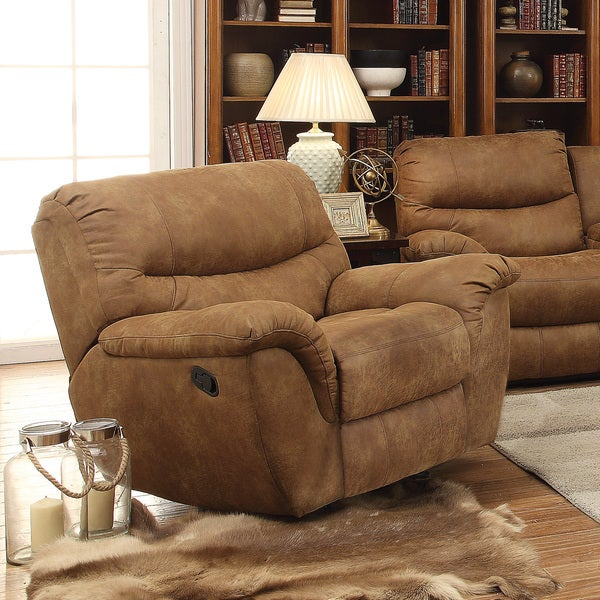 Tan Power Recline Glider Recliner