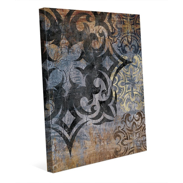 Grunge Snowflake' Slate Canvas Wall Art