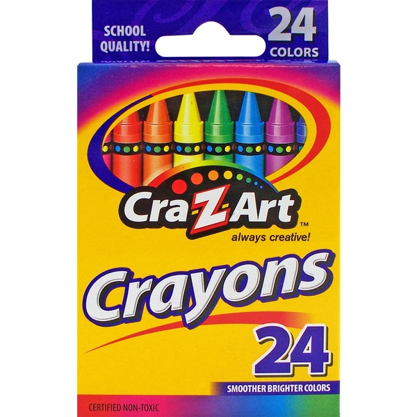 Cra-Z-Art 10201 24 Count Assorted Colors Crayons