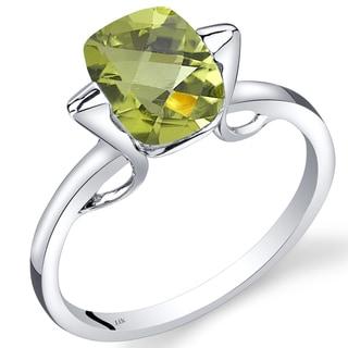 Oravo 14k White Gold 2ct TGW Peridot Solitaire Ring