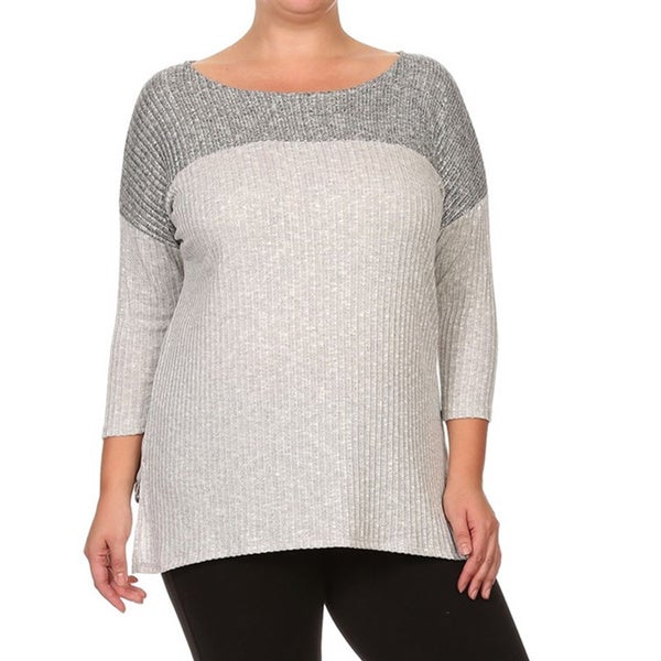 Women's Grey Polyester/Spandex Plus-size Rib Knit Top 20462988