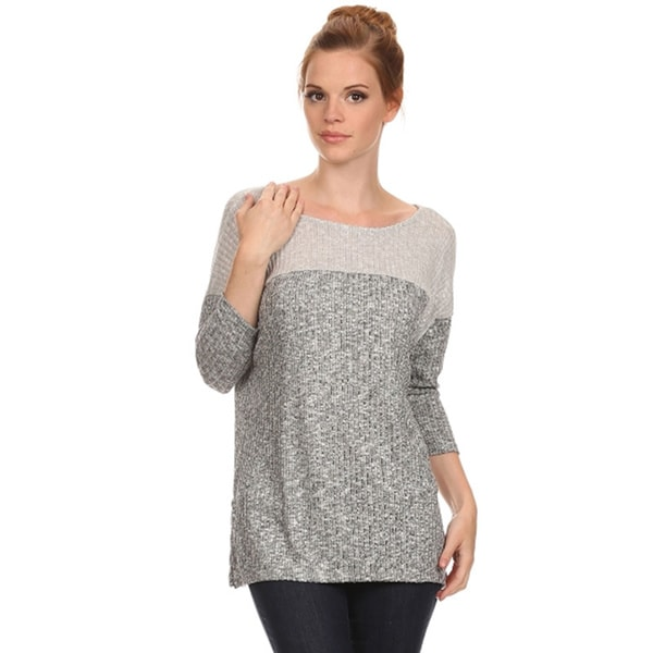 Women's Two-tone Grey Rib Knit Top