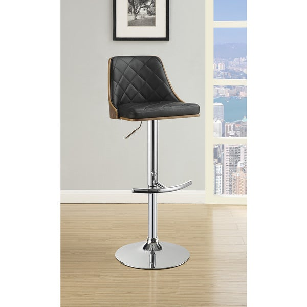Silver/Black Wood/Veneer/Metal/PU Adjustable Bar Stool