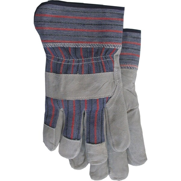 Boss Gloves 4093 Large Gray & Blue Economy Split Leather Palm Gloves
