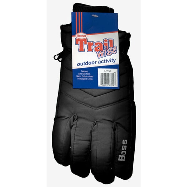 Boss Gloves 4232BL Large Black Insulated Lined Poplin Gloves