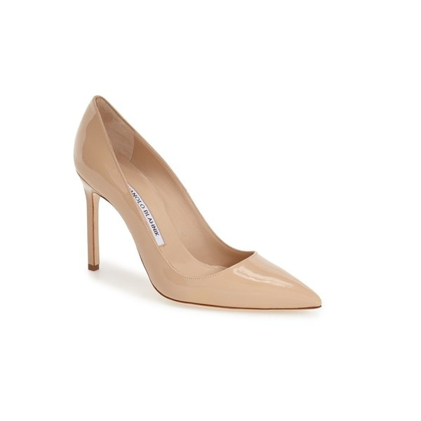 Manolo Blahnik BB Nude Patent Leather Pumps