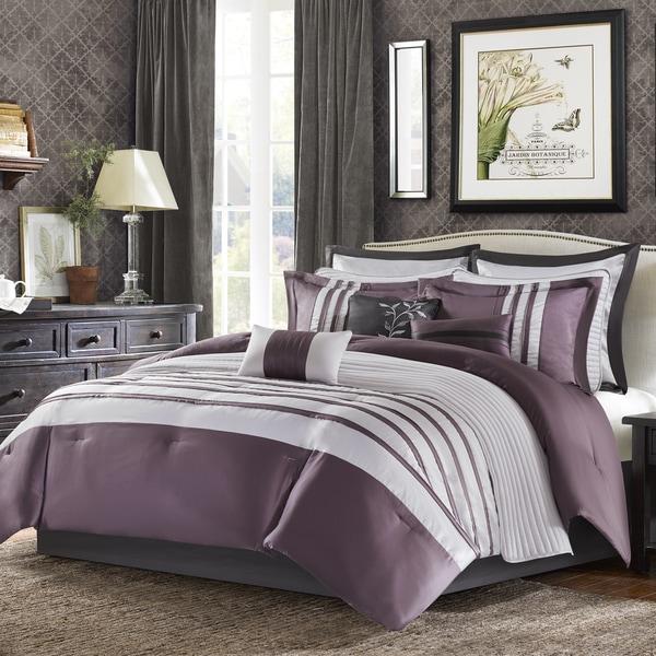 Madison Park Harlem Purple Jacquard Comforter Set