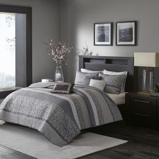 Madison Park Melody Grey/ Taupe Quilted Coverlet Set