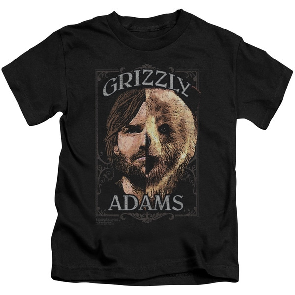 Grizzly Adams/Half Bear Short Sleeve Juvenile Graphic T-Shirt in Black