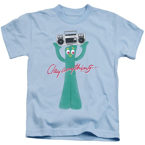Gumby/Clay Anything Short Sleeve Juvenile Graphic T-Shirt in Light Blue