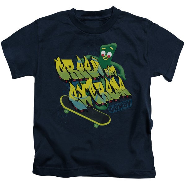 Gumby/Green and Extreme Short Sleeve Juvenile Graphic T-Shirt in Navy