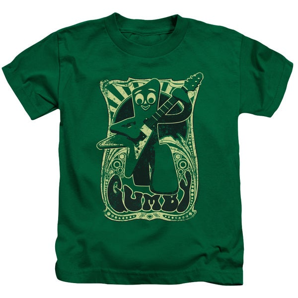 Gumby/Vintage Rock Poster Short Sleeve Juvenile Graphic T-Shirt in Kelly Green