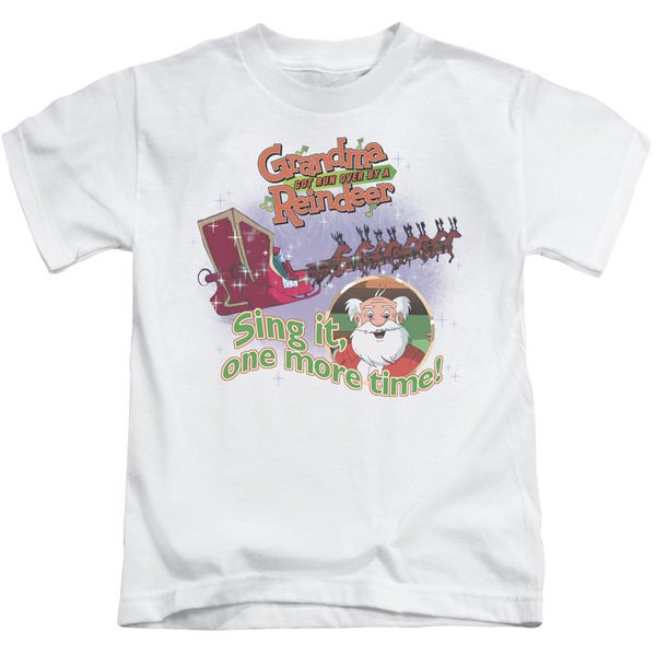 Granma Got Run Over By A Reindeer/All About The Songs Short Sleeve Juvenile Graphic T-Shirt in White