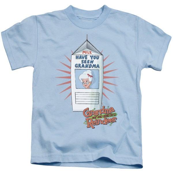 Grandma Got Run Over By A Reindeer/Milk Carton Short Sleeve Juvenile Graphic T-Shirt in Light Blue