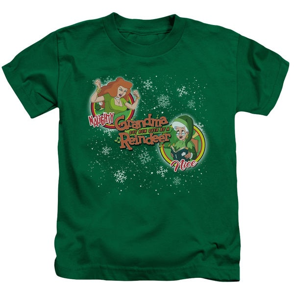Grandma Got Run Over By A Reindeer/Naughty or Nice Short Sleeve Juvenile Graphic T-Shirt in Kelly Green