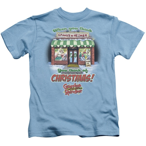 Grandma Got Run Over By A Reindeer/Think Christmas Short Sleeve Juvenile Graphic T-Shirt in Carolina Blue