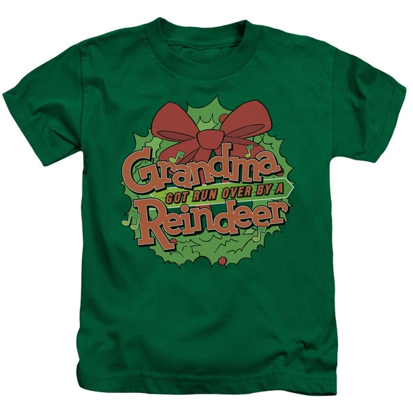 Grandma Got Run Over By A Reindeer/Grandma Logo Short Sleeve Juvenile Graphic T-Shirt in Kelly Green