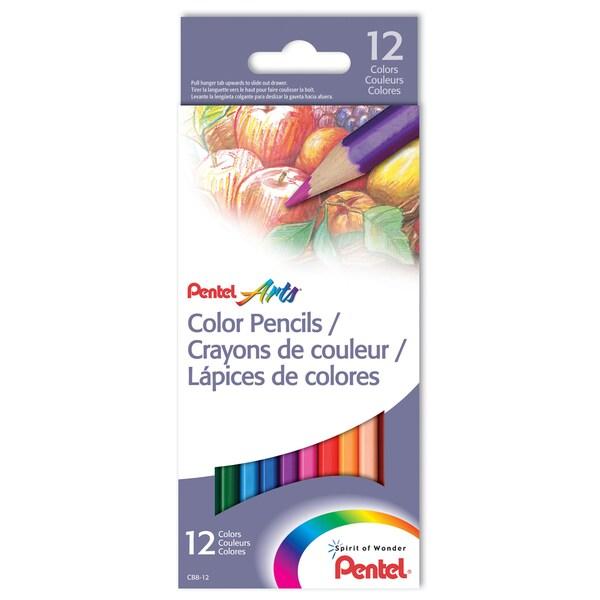 Pentel CB8-12 Arts Color Pencils Assorted Colors 12 Count