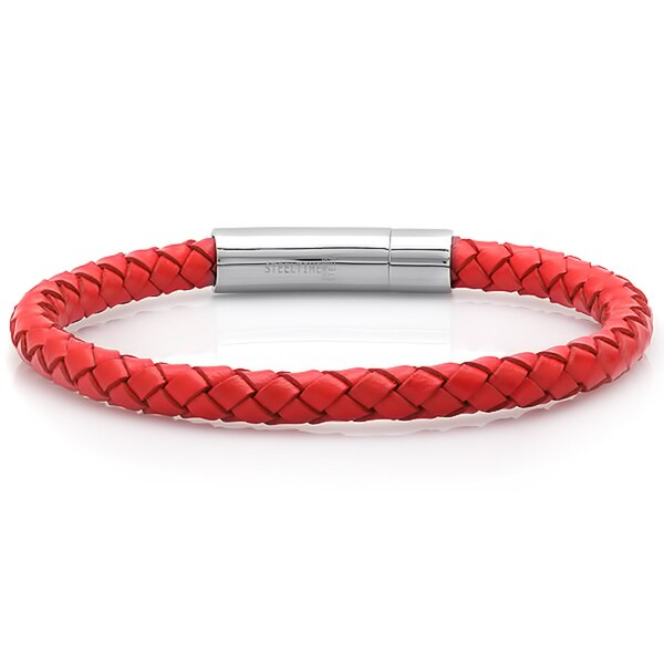 Red Leather Braided Bracelet