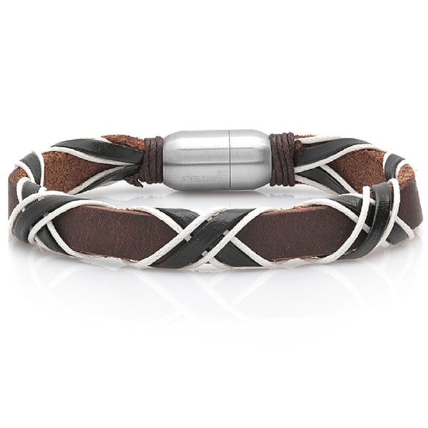 Brown Leather and White Rope Bracelet