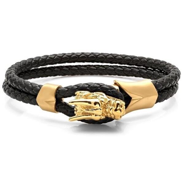 Men's Braided Black Leather 18k Gold-plated Stainless Steel Dragon Bracelet
