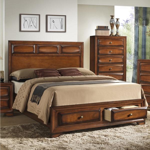 Oakland 139 Antique Oak King-size Storage Platform Bed