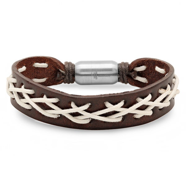 Brown Leather and White Criss Cross Bracelet