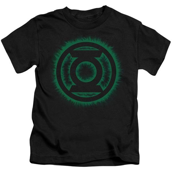 Green Lantern/Green Flame Logo Short Sleeve Juvenile Graphic T-Shirt in Black