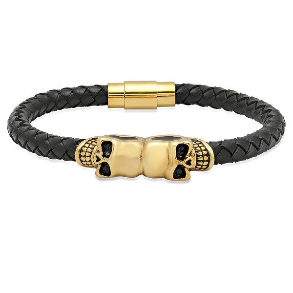 18k Gold-plated Black Leather Skull Bracelet