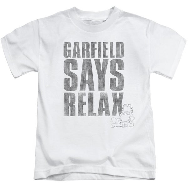 Garfield/Relax Short Sleeve Juvenile Graphic T-Shirt in White