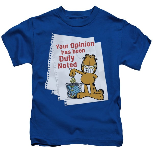 Garfield/Duly Noted Short Sleeve Juvenile Graphic T-Shirt in Royal